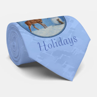 Christmas Snowman Deer Cute Bunny Blue Tie