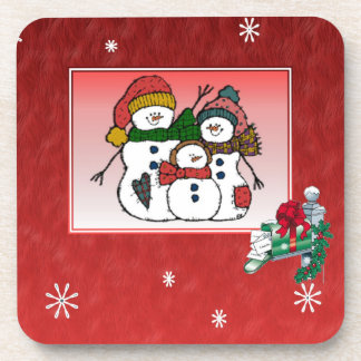 Christmas Snowman Family Cork Coaster