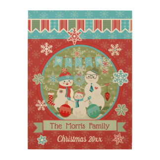 Christmas Snowman Family Custom Wood Wall Art