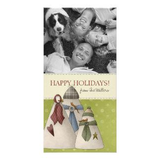 Christmas Snowman Family Photo Cards