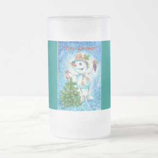 Christmas Snowman Frosted Glass Beer Mug