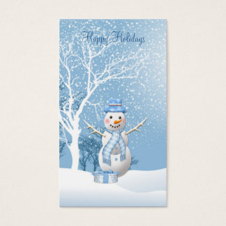 Christmas Snowman gift tag Business Card.