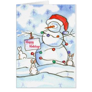 Christmas Snowman Happy Holidays Card