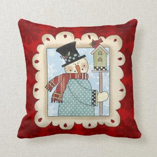 Christmas Snowman Holiday cartoon pillow