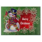 Christmas Snowman Holiday cutting board