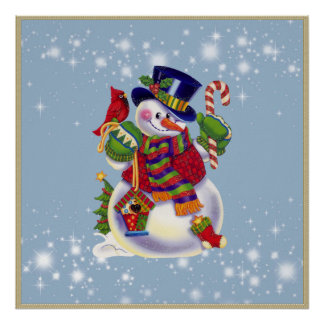 Christmas Snowman holiday poster