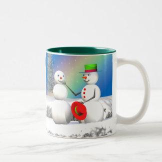 Christmas Snowman Making a Friend Two-Tone Mug