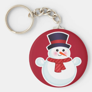 Christmas Snowman on Red Background Key Ring
