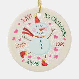 Christmas Snowman Personalized Photo Ceramic Ornament