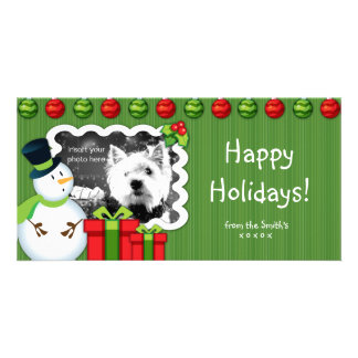 Christmas Snowman Photo Card template red green