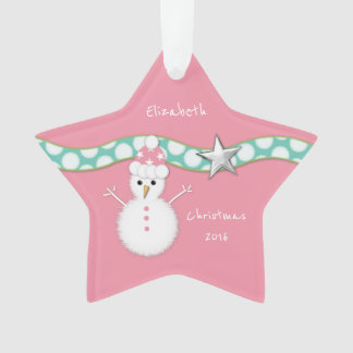 Christmas snowman pink star ornament Granddaughter