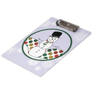 Christmas Snowman Polkadot Art Clipboard
