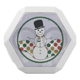 Christmas Snowman Polkadot Art White Bluetooth Speaker