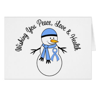 Christmas Snowman Prostate Cancer Ribbon Cards