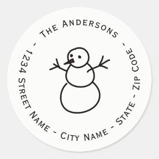 Christmas Snowman Return Address Label