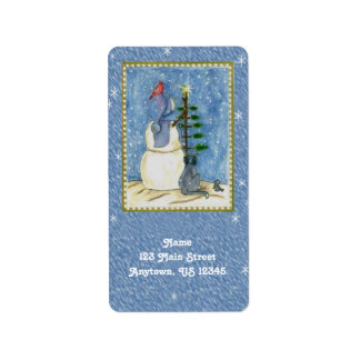 Christmas Snowman Return Address Labels