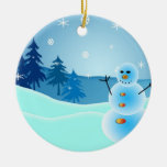 Christmas snowman round ornament