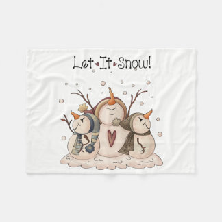 Christmas Snowman Rustic Country Primitive Winter Fleece Blanket