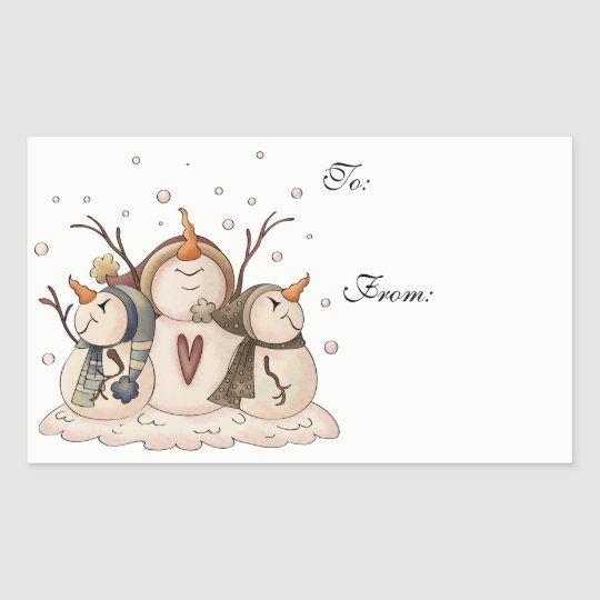 Christmas Snowman Rustic Country Primitive Winter Rectangular Sticker