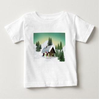 Christmas Snowman Scene Baby T-Shirt