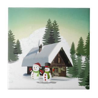 Christmas Snowman Scene Ceramic Tile