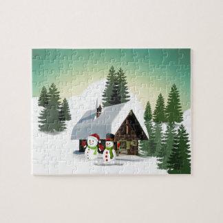 Christmas Snowman Scene Jigsaw Puzzle