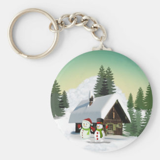 Christmas Snowman Scene Key Ring