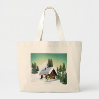 Christmas Snowman Scene Large Tote Bag