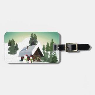 Christmas Snowman Scene Luggage Tag