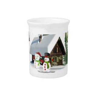 Christmas Snowman Scene Pitcher