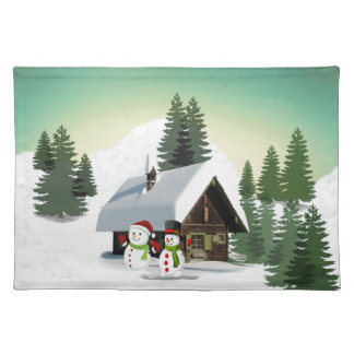 Christmas Snowman Scene Placemat