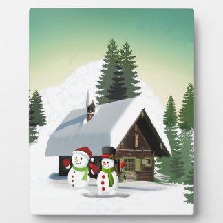 Christmas Snowman Scene Plaque