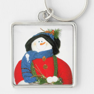 CHRISTMAS SNOWMAN Silver-Colored SQUARE KEY RING