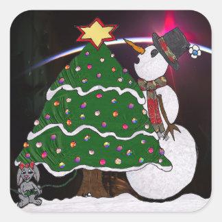 Christmas Snowman Surprise Holidays Square Sticker