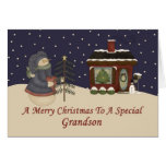 Christmas Snowman To A Special Grandson Cards