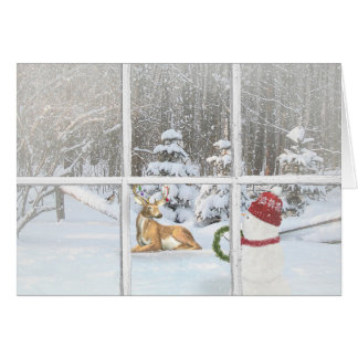 Christmas snowman with deer in windowpane card