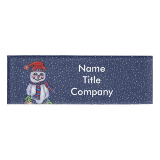 Christmas Snowman With Lights in Falling snow Name Tag