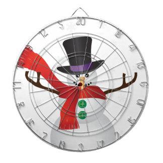 Christmas Snowman with Snowflakes Illustration Dartboard