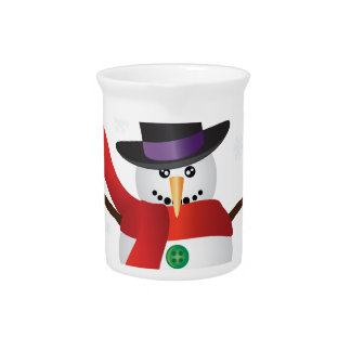 Christmas Snowman with Snowflakes Illustration Pitcher