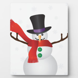 Christmas Snowman with Snowflakes Illustration Plaque