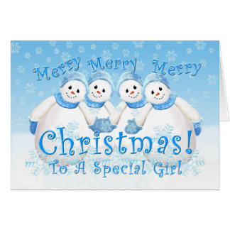 Christmas Snowman Wonderland for Girl Card