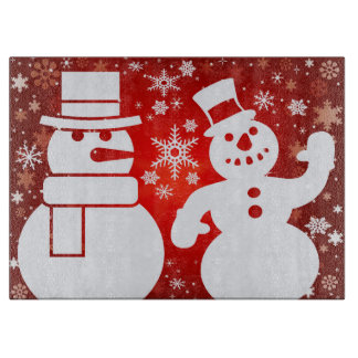 Christmas snowmen artistic illustration cutting board