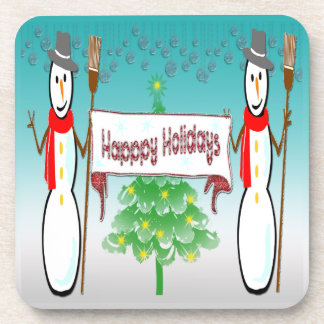 Christmas - Snowmen, Happy Holidays Cork Coaster