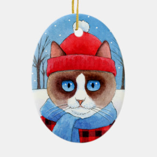 Christmas Snowshow or Ragdoll Cat ornament