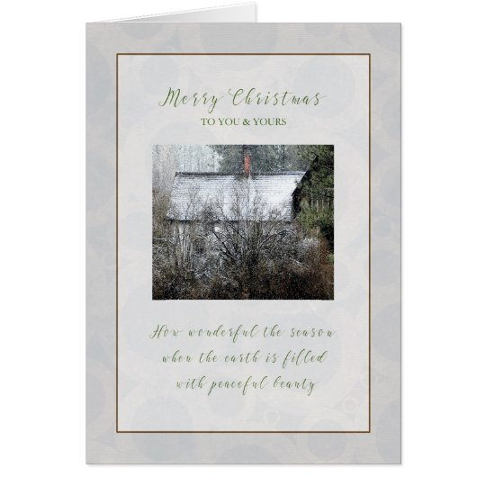 Christmas Snowy Cabin in the Woods Christmas Card
