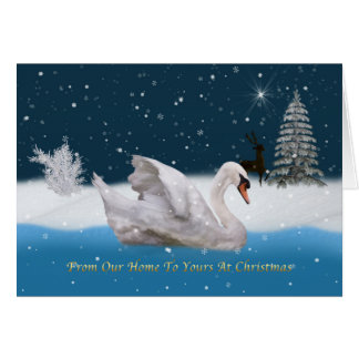 Christmas, Snowy Night with A Swan on a Lake Cards