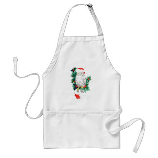 Christmas Snowy Owl Stocking Gifts Holly Designed Standard Apron