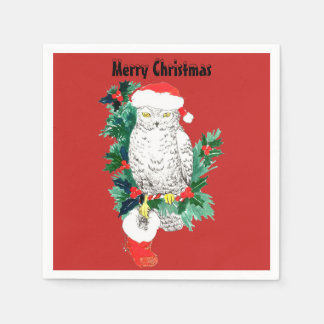 Christmas Snowy Owl with Santa Hat and Stocking Disposable Serviette