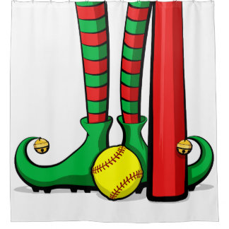 Christmas Softball Elf Feet Shower Curtain