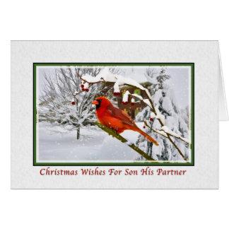 Christmas, Son and Partner, Cardinal Bird, Snow Card
